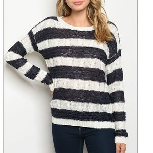 Black + white striped lightweight knit sweater.